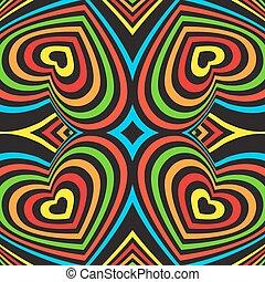 tęcza, objętościowy, trójwymiarowy, barwny, pattern., seamless, tło., wektor, czarnoskóry
