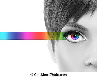 tęcza, oczy, barwny, pojęcie, oculistic, czarnoskóry, pół, ...
