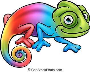 tęcza, rysunek, kameleon