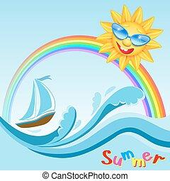 tęcza, słońce, jacht, morze, fale, uśmiechanie się, okulary
