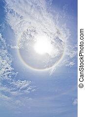 tęcza, sircular, chmury, słońce
