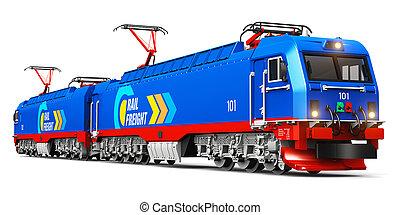 těžkopádný, moderní, elektrický, náklad, lokomotiva