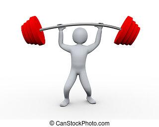 těžkopádný, osoba, 3, zdvihání, weight.