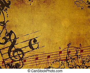tła, grunge, abstrakcyjny, budowy, melodia
