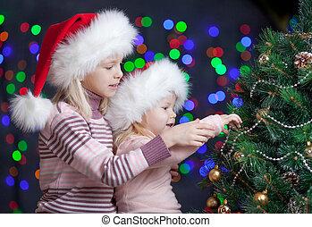 tło, świąteczny, kapelusze, claus, jasny, święty, siostry, dzieci
