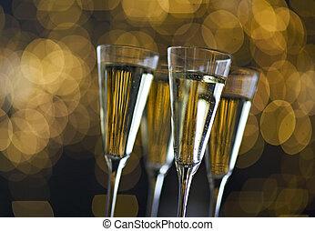 tło., światła, tło, szampan, boże narodzenie, okulary