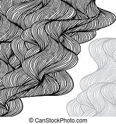 tło., abstrakcyjny, hand-drawn, fale