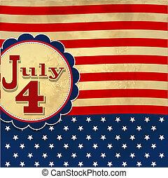 tło, amerykanka, symbolizing, bandera, 4, gwiazdy, lipiec, dzień, niezależność