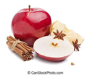 tło, anyż, jabłka, gwiazdy, biały, cynamon