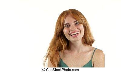 tło, aparat fotograficzny., uśmiech, biały, dziewczyna, ...