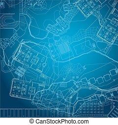 tło., architektoniczny, blueprint.