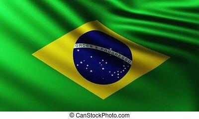 tło, bandera, trzepotliwy, wielki, brazylijczyk, wiatr