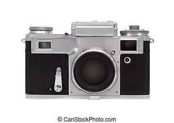tło., biały, aparat fotograficzny, odizolowany