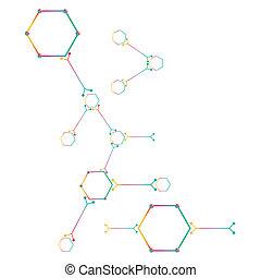 tło., biały, część, atom