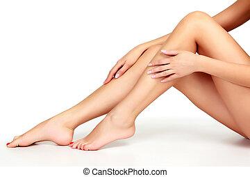 tło, biały, kobieta, odizolowany, nogi