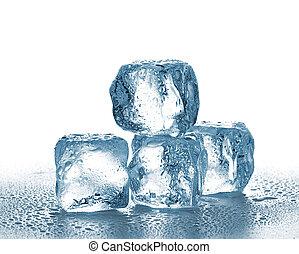 tło., biały, kostki, lód