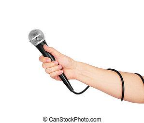 tło., biały, mikrofon, samicza ręka