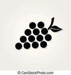 tło., biały, odizolowany, winogrona, ikona