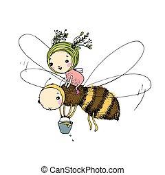 tło., biały, wróżka, pszczoła