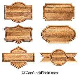tło., biały, znak, drewniany, odizolowany, komplet