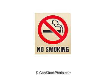 tło., biały, znak, palenie, nie