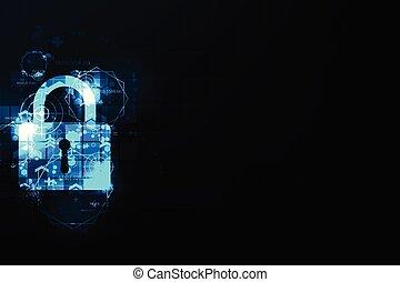 tło., cyfrowy, ciemny, bezpieczeństwo, błękitny