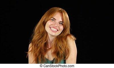 tło, czarnoskóry, aparat fotograficzny., uśmiech, dziewczyna...