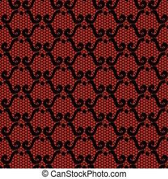 tło., czarnoskóry, koronka, czerwony
