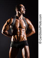 tło, czarnoskóry, muskularny, łańcuch, człowiek