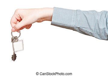 tło, do góry, odizolowany, ręka, klucz, czysty, zamknięcie, biały, prospekt, ring, bok
