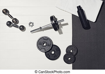 tło, dom, concept., biały, wyposażenie, sport, trening, drewniany