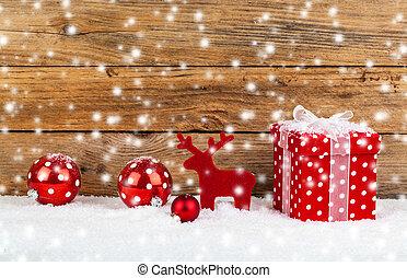 tło, drewniany, śnieg, gwiazdkowy dar, czerwony