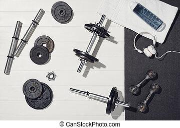 tło, drewniany, trening, sport, biały, wyposażenie, concept., dom