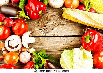 tło, drewniany, warzywa, organiczny, zdrowy
