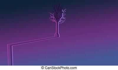 tło., drzewo, neon, ożywienie, purpurowy, barwny, robiony, ...