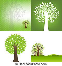 tło, drzewo, zielony