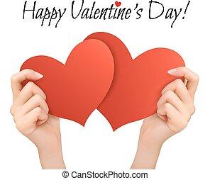 tło, dwa, valentine, wektor, hearts., dzierżawa wręcza, święto, czerwony