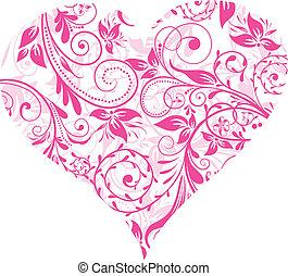 tło, dzień, wektor, serce, list miłosny