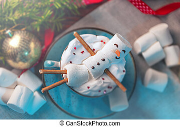 tło, girlanda, dary, marshmallow, człowiek, leżący, kubek, drzewo, kakao, boże narodzenie, zabawki