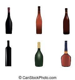 tło, grupa, wino, biały, różny, butelki