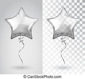 tło., gwiazda, wektor, balloon, odizolowany, srebro, przeźroczysty, object.