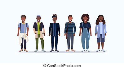 tło, hairstyles, modny, uśmiechanie się, przypadkowy, reputacja, różny, długość, biały, szczęśliwy, chodząc, płaski, pełny, mężczyźni, litery, poziomy, człowiek, rysunek, razem, amerykanka, afrykański samczyk, odzież