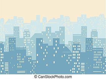 tło, ilustracja, nowoczesny, wektor, miasto, cityscape, illustration.