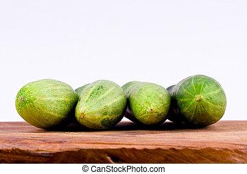 tło, jadło, ogórki, zielona roślina, zdrowy, drewniany, odizolowany, świeży