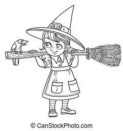 tło, konturowany, sprytny, dziewczyna, janowiec, czarownica...