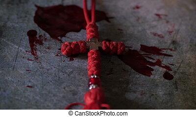 tło, krwawy, jezus, krzyż, do góry szczelnie