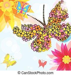 tło, kwiaty, abstrakcyjny, motyle