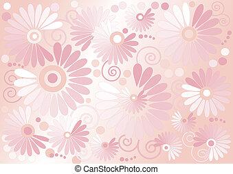 tło, kwiaty, różowy