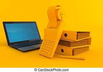 tło, laptop, księgowość