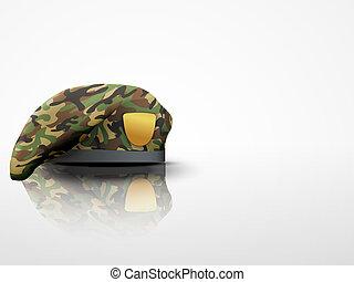 tło, lekki, beret, camo, wojska, wojskowy, szczególny
